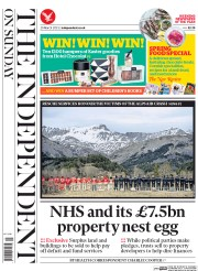 The Independent on Sunday (UK) Newspaper Front Page for 29 March 2015