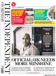 The Independent on Sunday (UK) Newspaper Front Page for 2 August 2015
