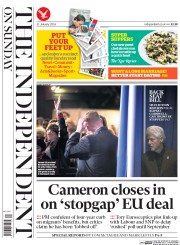 The Independent on Sunday (UK) Newspaper Front Page for 31 January 2016