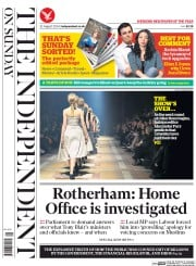 The Independent on Sunday (UK) Newspaper Front Page for 31 August 2014