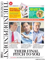The Independent on Sunday (UK) Newspaper Front Page for 3 May 2015