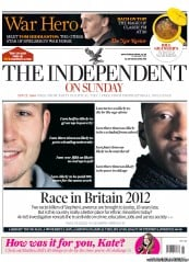 The Independent on Sunday Newspaper Front Page (UK) for 8 January 2012