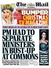 The Mail on Sunday (UK) Newspaper Front Page for 10 December 2017