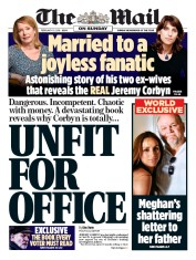The Mail on Sunday (UK) Newspaper Front Page for 10 February 2019