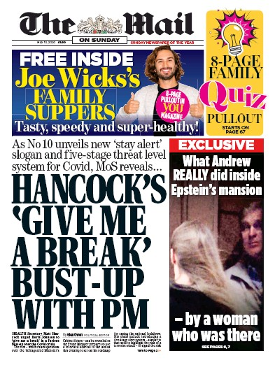 The Mail on Sunday Newspaper Front Page (UK) for 10 May 2020
