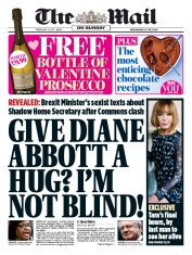 The Mail on Sunday (UK) Newspaper Front Page for 12 February 2017