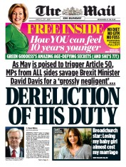 The Mail on Sunday () Newspaper Front Page for 12 March 2017