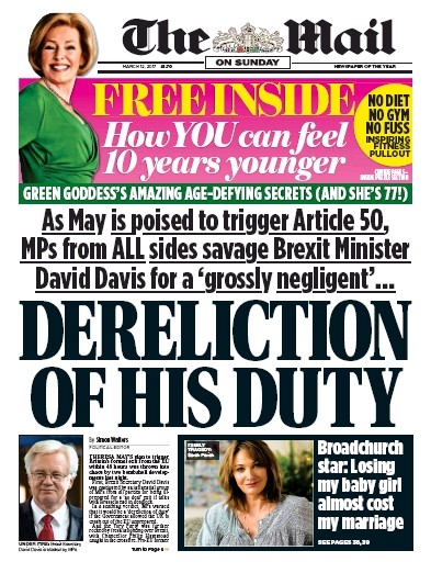The Mail on Sunday Newspaper Front Page (UK) for 12 March 2017