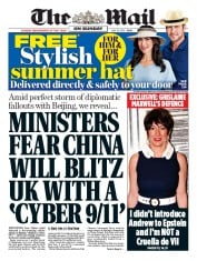 The Mail on Sunday front page for 12 July 2020