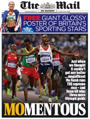 The Mail on Sunday () Newspaper Front Page for 12 August 2012