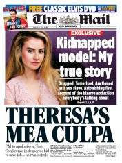 The Mail on Sunday (UK) Newspaper Front Page for 13 August 2017