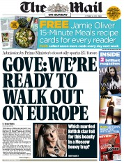 The Mail on Sunday (UK) Newspaper Front Page for 14 October 2012