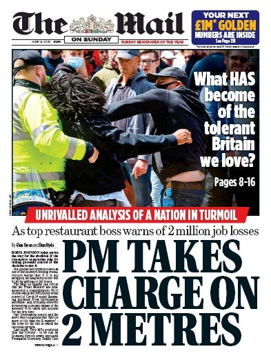 The Mail on Sunday Newspaper Front Page (UK) for 14 June 2020