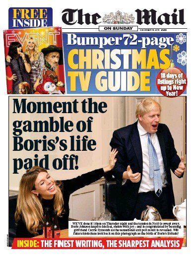 The Mail on Sunday Newspaper Front Page (UK) for 15 December 2019