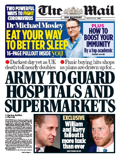The Mail on Sunday Newspaper Front Page (UK) for 15 March 2020