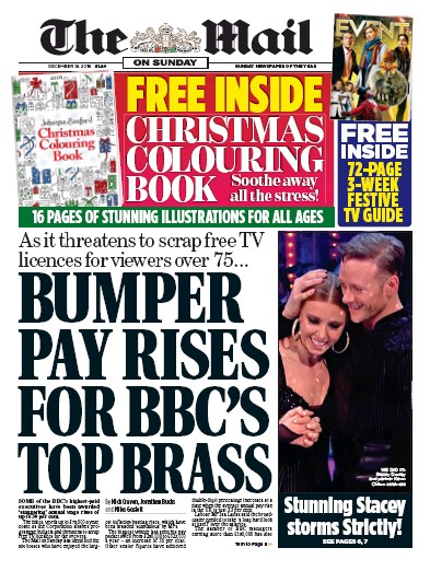 The Mail on Sunday Newspaper Front Page (UK) for 16 December 2018