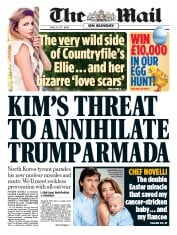 The Mail on Sunday (UK) Newspaper Front Page for 16 April 2017
