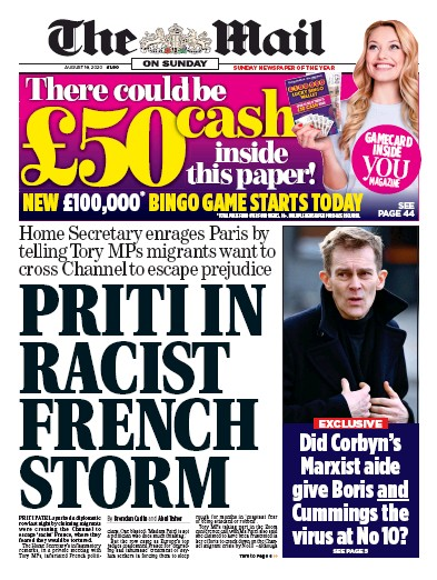 The Mail on Sunday Newspaper Front Page (UK) for 16 August 2020