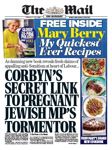 The Mail on Sunday Newspaper Front Page (UK) for 17 February 2019