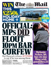 The Mail on Sunday front page for 18 October 2020