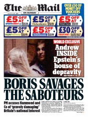 The Mail on Sunday (UK) Newspaper Front Page for 18 August 2019