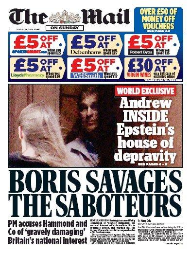 The Mail on Sunday Newspaper Front Page (UK) for 18 August 2019