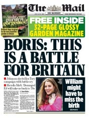 The Mail on Sunday (UK) Newspaper Front Page for 19 April 2015