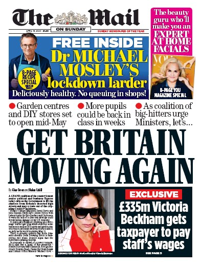 The Mail on Sunday Newspaper Front Page (UK) for 19 April 2020