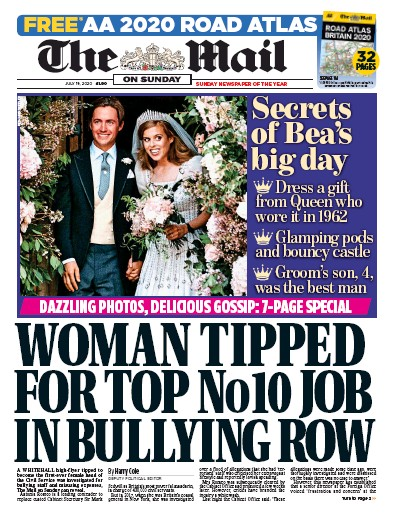 The Mail on Sunday Newspaper Front Page (UK) for 19 July 2020