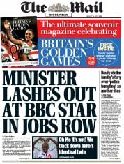 The Mail on Sunday Newspaper Front Page (UK) for 19 August 2012