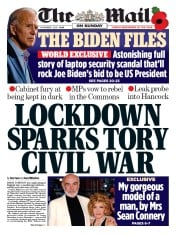 The Mail on Sunday front page for 1 November 2020