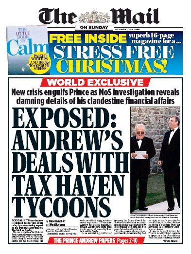 The Mail on Sunday Newspaper Front Page (UK) for 1 December 2019