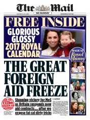 The Mail on Sunday (UK) Newspaper Front Page for 1 January 2017