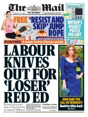 The Mail on Sunday (UK) Newspaper Front Page for 1 February 2015