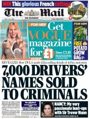 The Mail on Sunday Newspaper Front Page (UK) for 1 April 2012