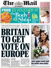 The Mail on Sunday Newspaper Front Page (UK) for 1 July 2012