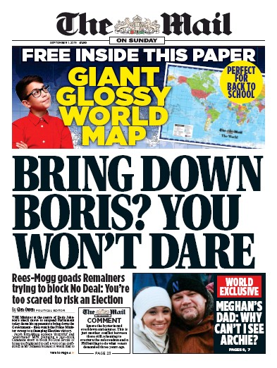 The Mail on Sunday Newspaper Front Page (UK) for 1 September 2019