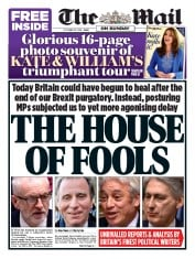 The Mail on Sunday () Newspaper Front Page for 20 October 2019