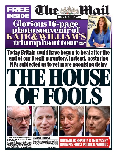 The Mail on Sunday Newspaper Front Page (UK) for 20 October 2019