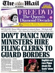 The Mail on Sunday Newspaper Front Page (UK) for 20 May 2012