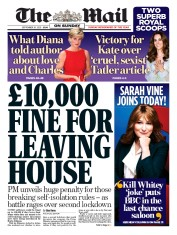 The Mail on Sunday front page for 20 September 2020
