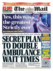 The Mail on Sunday (UK) Newspaper Front Page for 21 December 2014