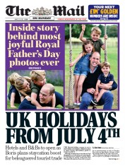 The Mail on Sunday front page for 21 June 2020