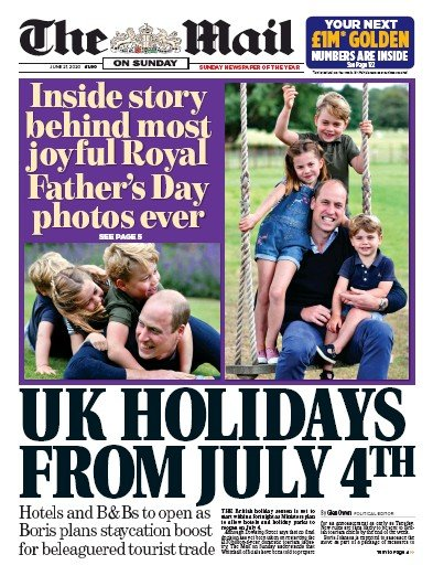 The Mail on Sunday Newspaper Front Page (UK) for 21 June 2020