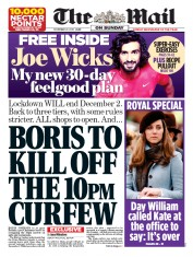 The Mail on Sunday (UK) Newspaper Front Page for 22 November 2020