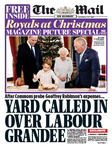 The Mail on Sunday Newspaper Front Page (UK) for 22 December 2019