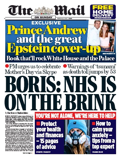 The Mail on Sunday Newspaper Front Page (UK) for 22 March 2020