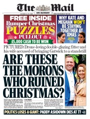 The Mail on Sunday (UK) Newspaper Front Page for 23 December 2018