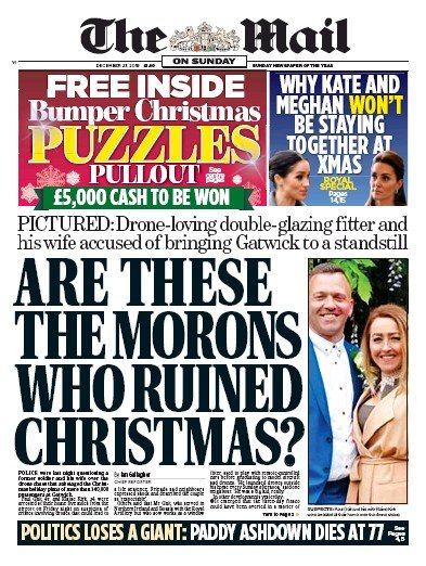 The Mail on Sunday Newspaper Front Page (UK) for 23 December 2018