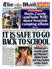 The Mail on Sunday front page for 23 August 2020
